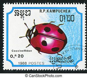 insect - CAMBODIA - CIRCA 1988: stamp printed by Cambodia,...