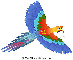 screaming afraid blue parrot flies on white - illustration...