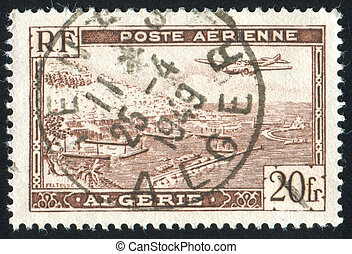 Algiers Harbor - ALGERIA CIRCA 1946: stamp printed by...