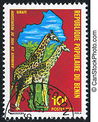 giraffe - BENIN - CIRCA 1979: stamp printed by Benin, shows...
