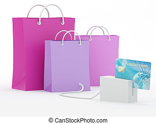 Online Credit Card Purchase - Isolated shopping bags with...