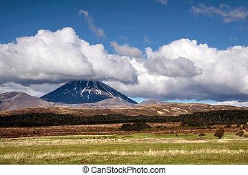 Mount Ngauruhoe in Tongariro National Park,...