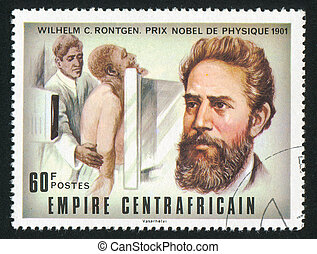Roentgen - CENTRAL AFRICAN REPUBLIC - CIRCA 1977: stamp...