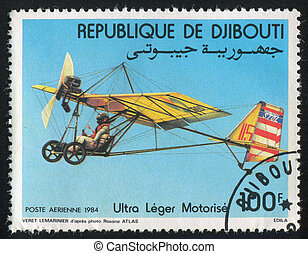 Motorized Hang Gliders - DJIBOUTI - CIRCA 1984: stamp...