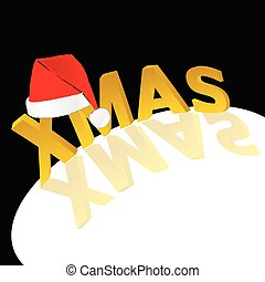 red hat with xmas word vector illustration