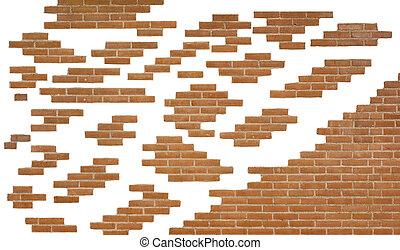 pared, ladrillo, pedazos