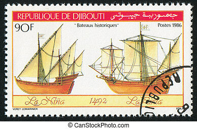 sailing ship - DJIBOUTI - CIRCA 1986: stamp printed by...