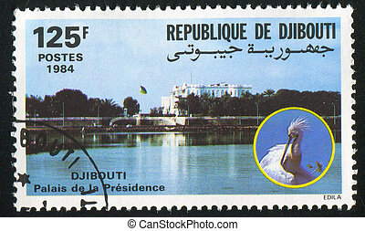 Presidential Palace - DJIBOUTI CIRCA 1984: stamp printed by...