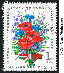 bouquet - HUNGARY - CIRCA 1980: stamp printed by Hungary,...