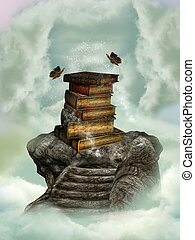 books in the sky on a stone stairway