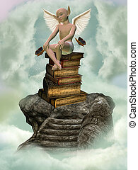 books and fantasy creature in a stone stairway in the sky