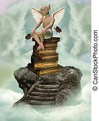 books and fantasy creature