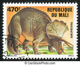 Triceratops - MALI - CIRCA 1984: stamp printed by Mali,...