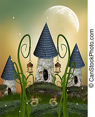 Tree House in a fantasy garden with a big moon