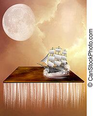 Fantasy landscape with a galaxy and ship