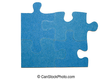 Pieces of a puzzle - Four blue pieces of a puzzle with a...