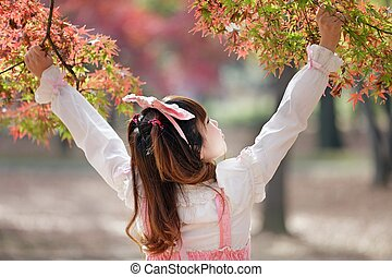 japanese sweet lolita in autumn scenery - japanese girl in...