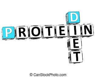 3D Protein Diet Crossword on white background