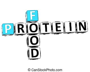 3D Protein Food Crossword on white background