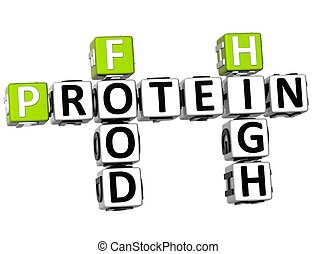 3D Protein Food High Crossword on white background