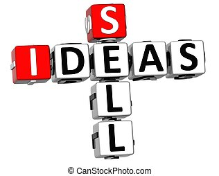 3D Sell Ideas Crossword on white background