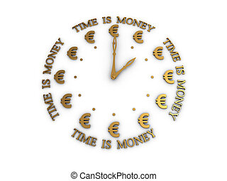 The time is money 3D image on white background