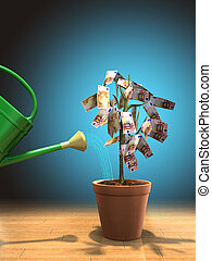 Money plant - Watering a money plant in a pot. Digital...