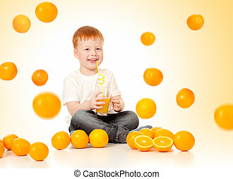 redheaded boy with falling oranges and orange juice