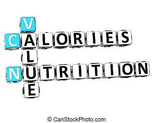 3D Value Calories Nutrition Crossword on white background