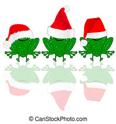 frog with red christmas hat illustration on white