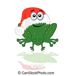 green frog with christmas red hat vector illustration