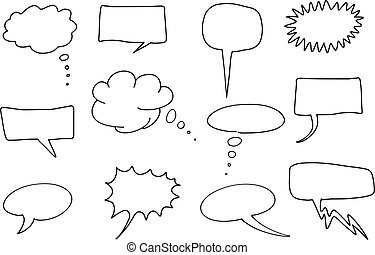Speech balloons - Comic speech bubbles set Chat and thought...