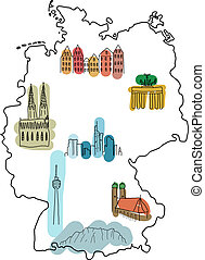 Landmarks in Germany - Germany - doodle map with famous...