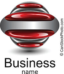 Logo business, red glossy ellipses