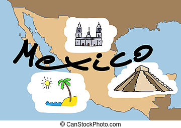 Mexico map with major Mexican landmarks: Mexico City...