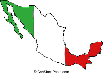 Mexico flag map - Map of Mexico with Mexican flag colours