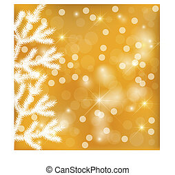 Golden festive lights background with fir tree