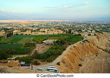 Jericho - aerial view from Mount of Temptation. - Jericho -...