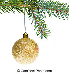 red christmas ball hanging from tree isolated on white...