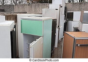 peligroso, desperdicio, -, refrigeradores, basurero