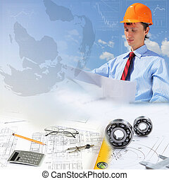 Construction industry collage - Collage with a business...