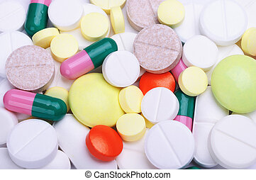 A lots of pills - Macro shoot of heaps of different pills