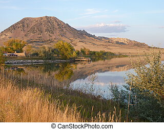 Bear Butte and Lake at Sunset - Bear Butte and Bear Butte...