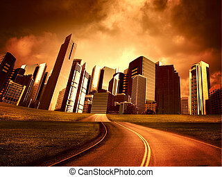 Modern city and road - Image of a modern city and road...