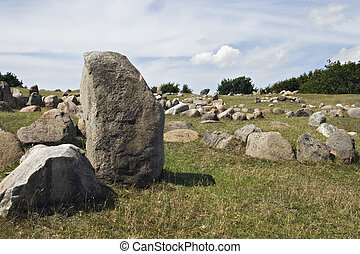 Stone viking graves - Ancient stone viking graves in...