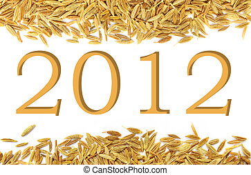 New year 2012 on decorative cumin background