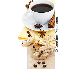 Coffee break - cup of coffee with biscuits with spices