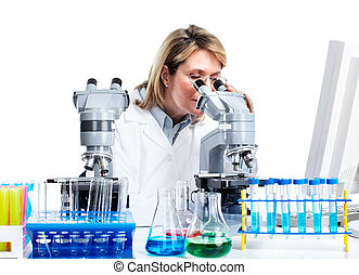Woman working with a microscope in a laboratory Isolated...