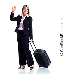 Smiling business woman with suitcase. Isolated over white...