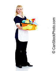 Smiling maid woman. Isolated over white background